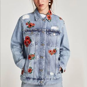 Zara floral embroidered denim jacket